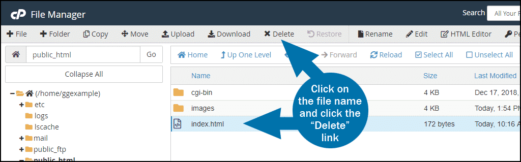 cPanel file manager delete file step 2