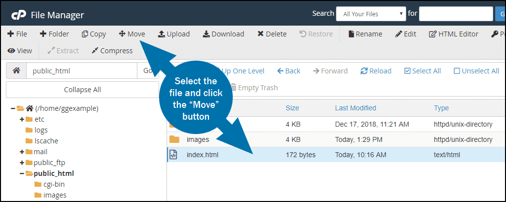 cPanel file manager move file step 1