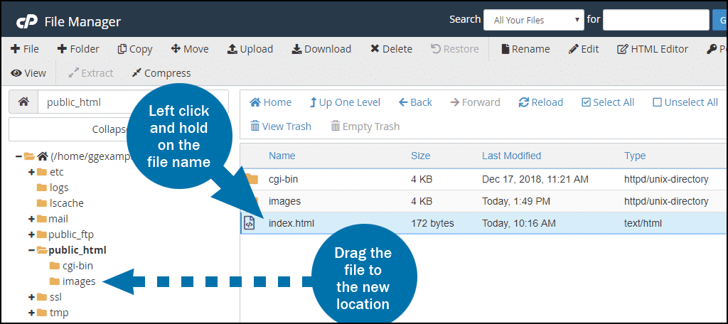 cPanel file manager move file step 3