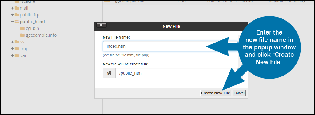 cPanel file manager new file step 2