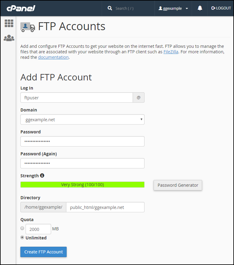 cPanel ftp user set up step 2