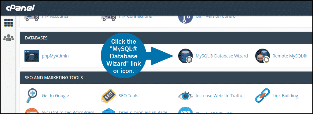cPanel select section DATABASES mysql wizard