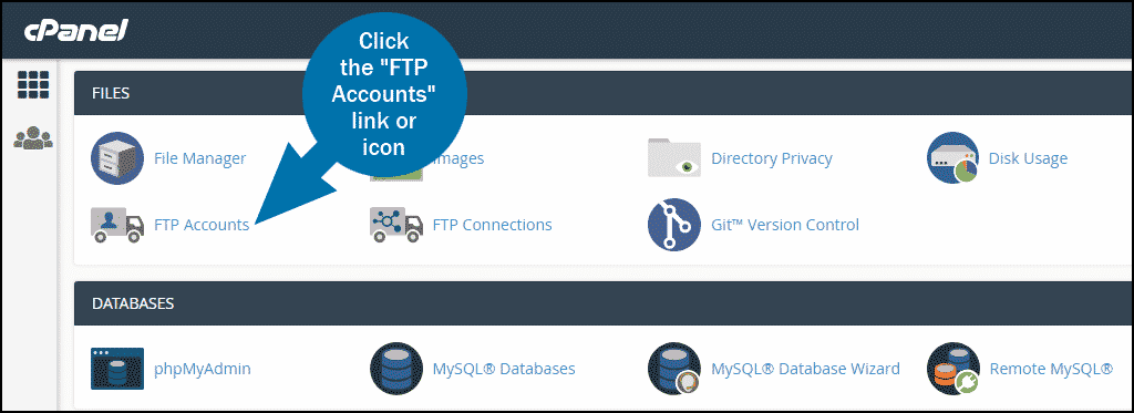 cPanel select section FILES ftp accounts