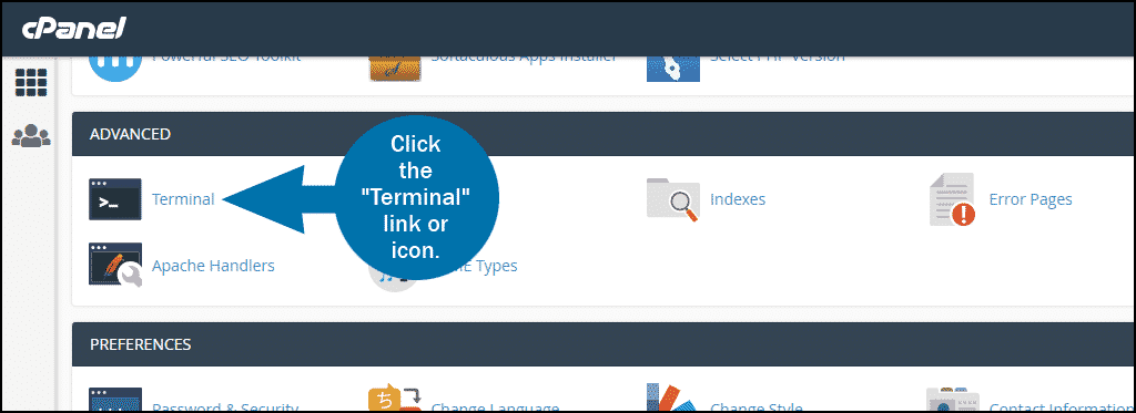 cPanel terminal access step 1