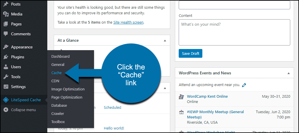 """click the """"Cache"""" link"""