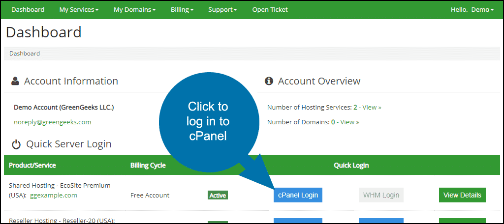 GreenGeeks dashboard click to log in to cPanel