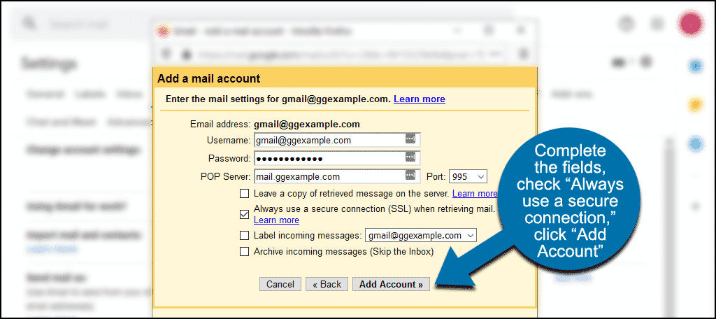 """complete fields, click the """"Add Account"""" button"""