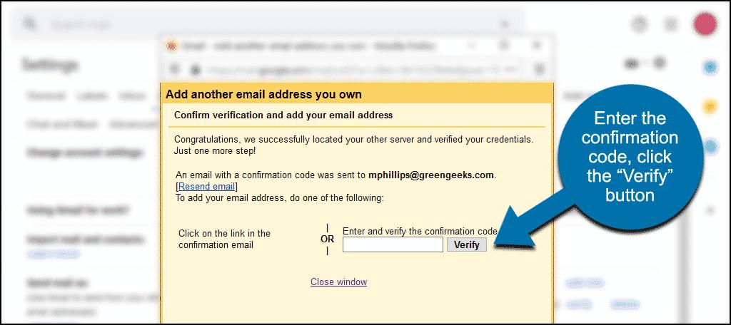 """enter confirmation code, click the """"Verify"""" button"""