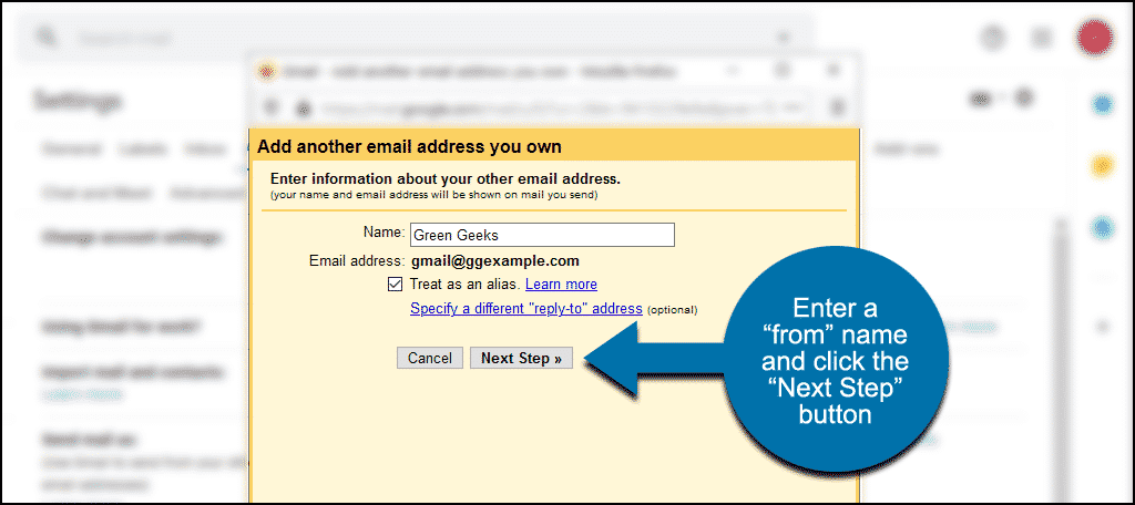 """enter a from name and click the """"Next Step"""" button"""