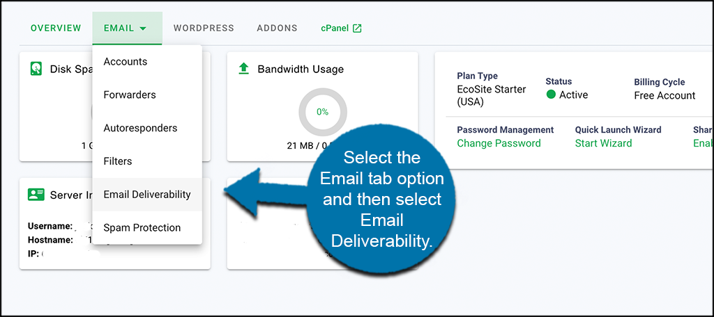 Select email tab then deliverability