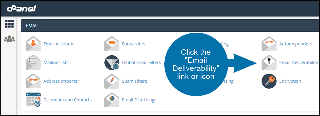 cPanel select EMAIL deliverability section