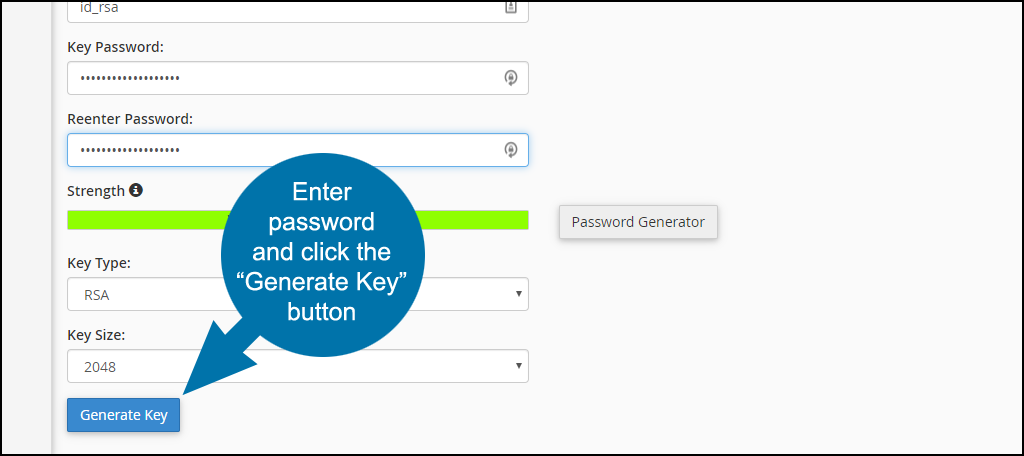 ssh private keys in cPanel step 4