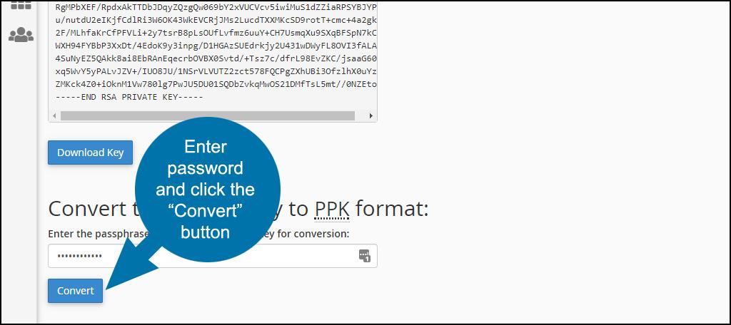 ssh private keys in cPanel step 9b