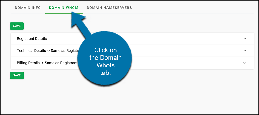 Click on domain whois tab