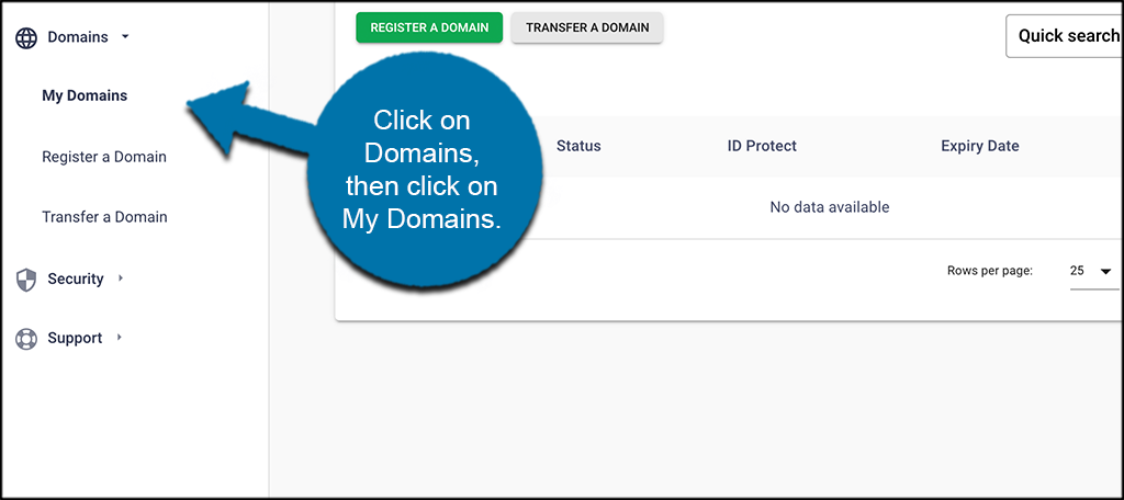 Click domains then click my domains