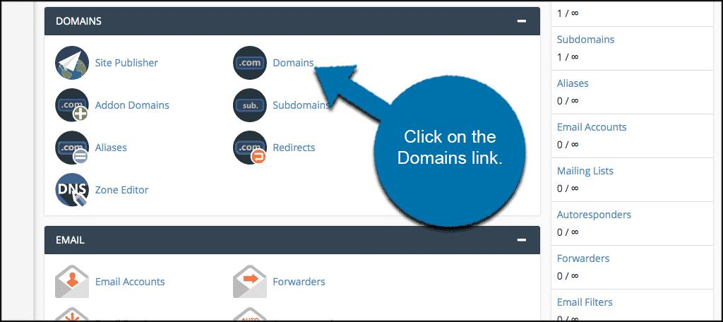 Click Domains Tab