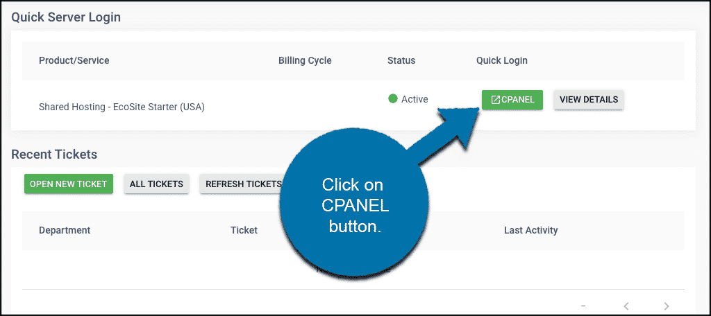 click cPanel button