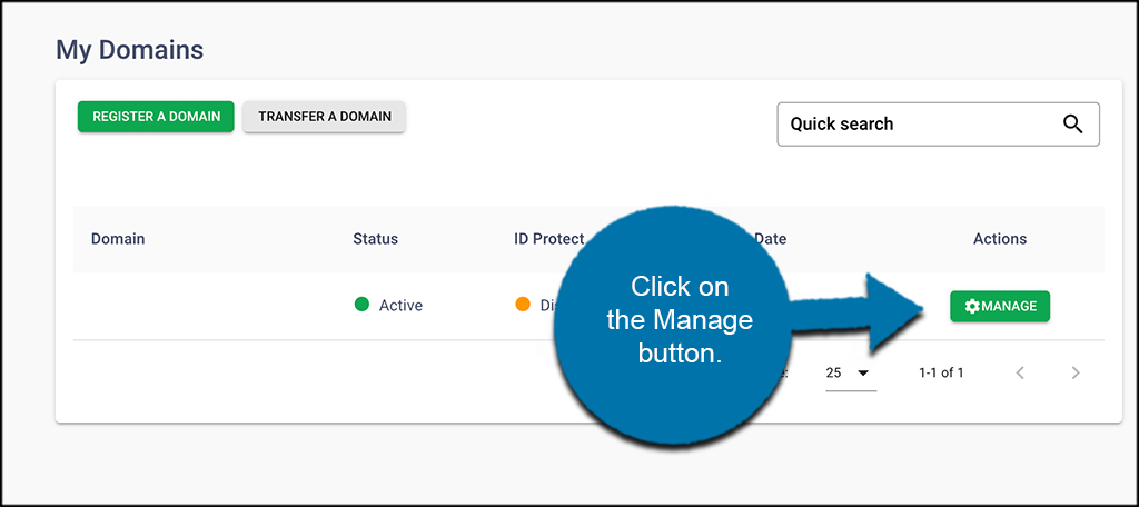 Click the manage button