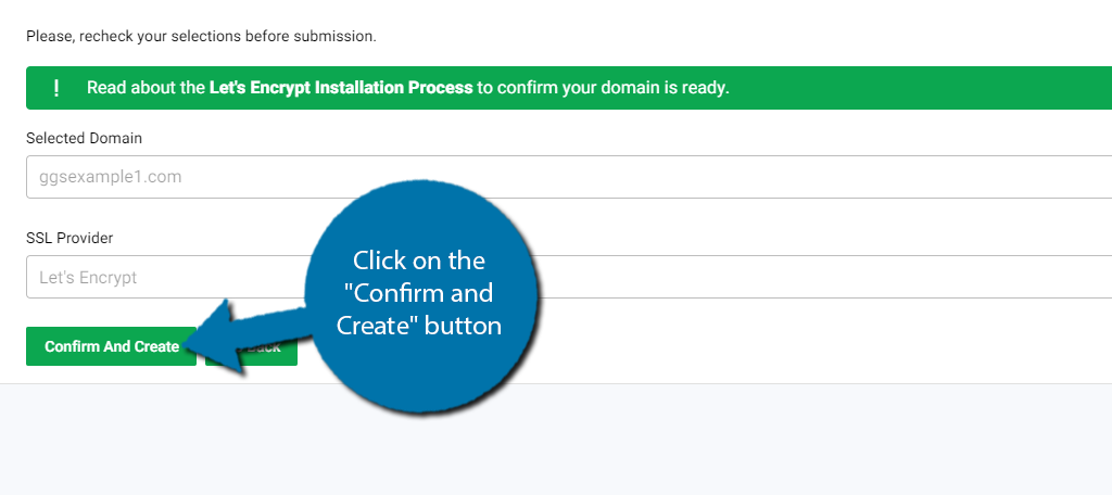 Confirm and Create