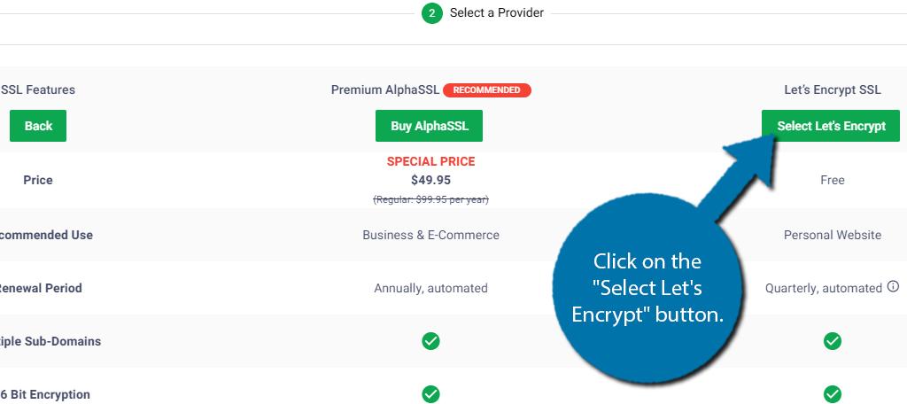 Select Lets Encrypt