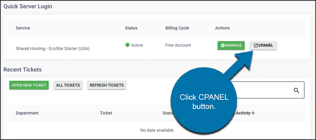Click on cPanel button