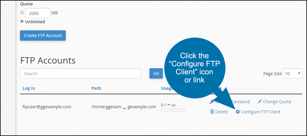 "click the ""Configure FTP Client"" link"