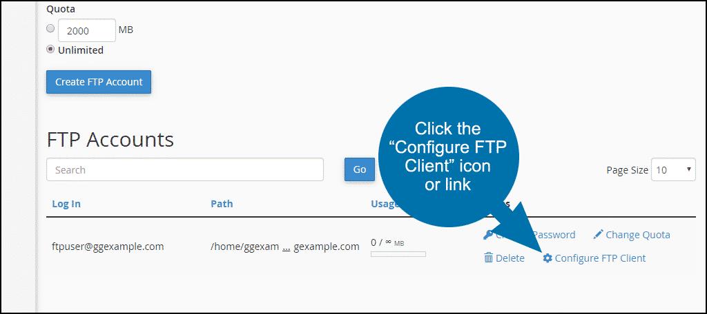 """click the """"Configure FTP Client"""" link"""