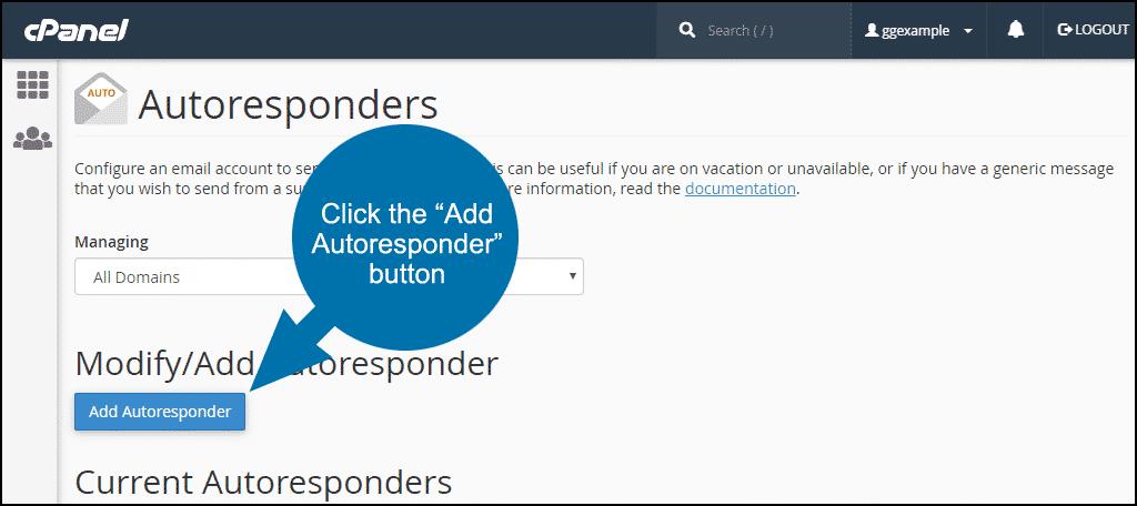 click the add autoresponder button