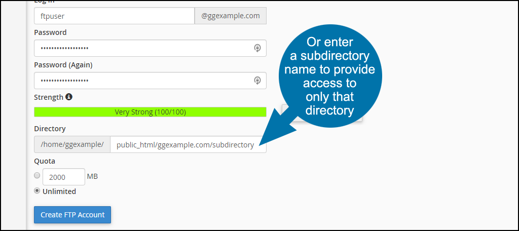 enter a subdirectory name