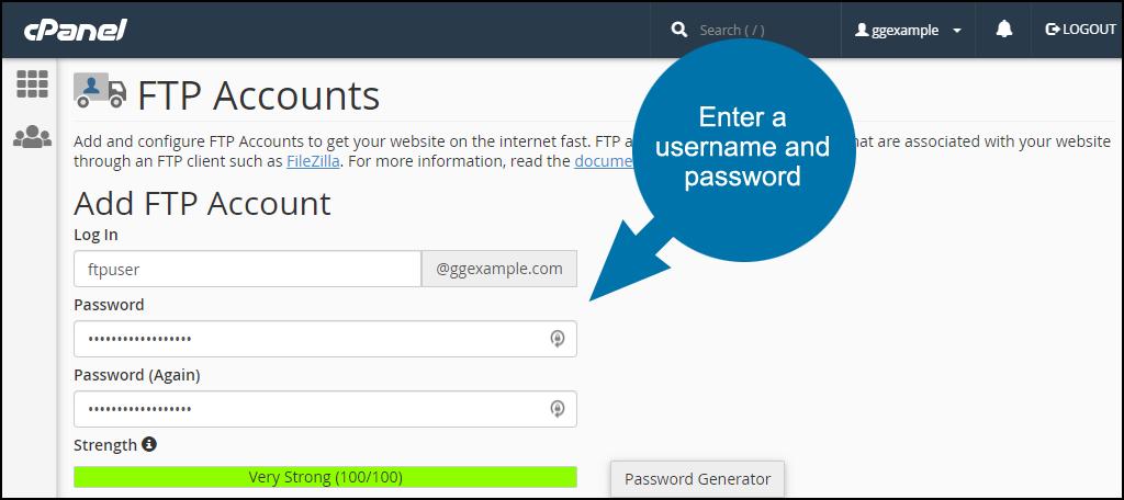 enter a username and password