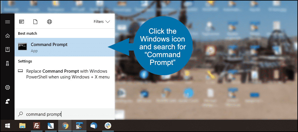 click the Command Prompt App search result