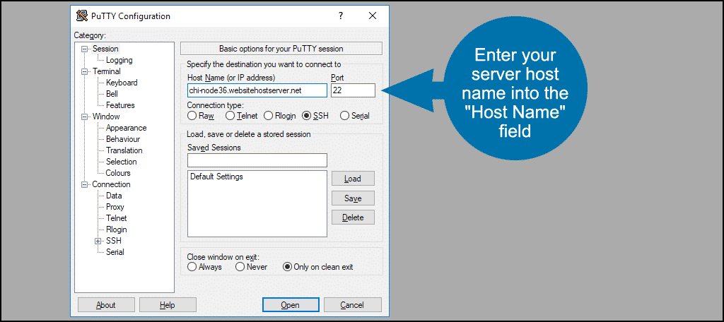 "enter your server host name into the ""Host Name"" field"