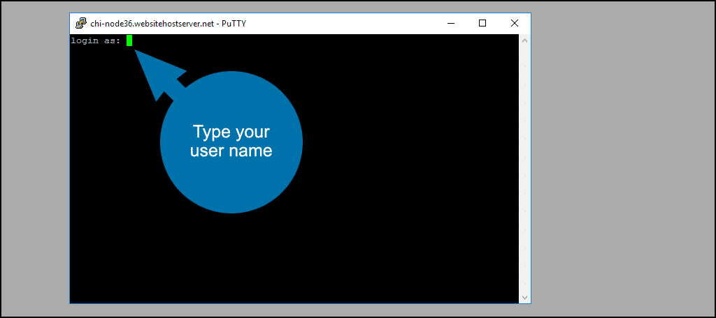 type your username and hit the Enter key on your keyboard