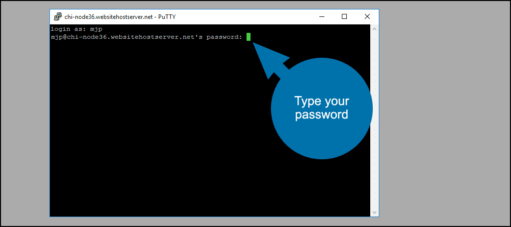 type your password and hit the Enter key on your keyboard