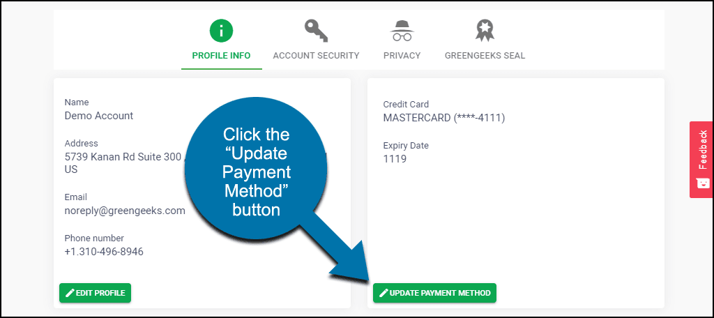 "click the ""Update Payment Method"" button"