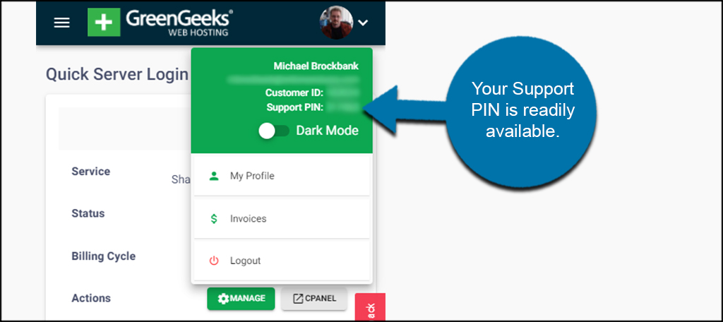 Mobile Support PIN