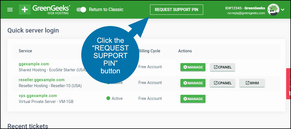 """click the """"REQUEST SUPPORT PIN"""" button"""