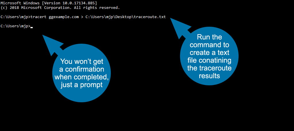 run the command to create a text file