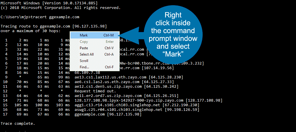 """right click and select """"mark"""""""