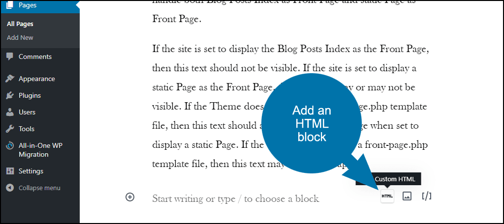 adding an HTML block in WordPress