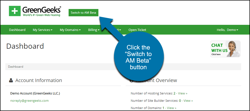 "click the ""Switch to AM Beta"" button"