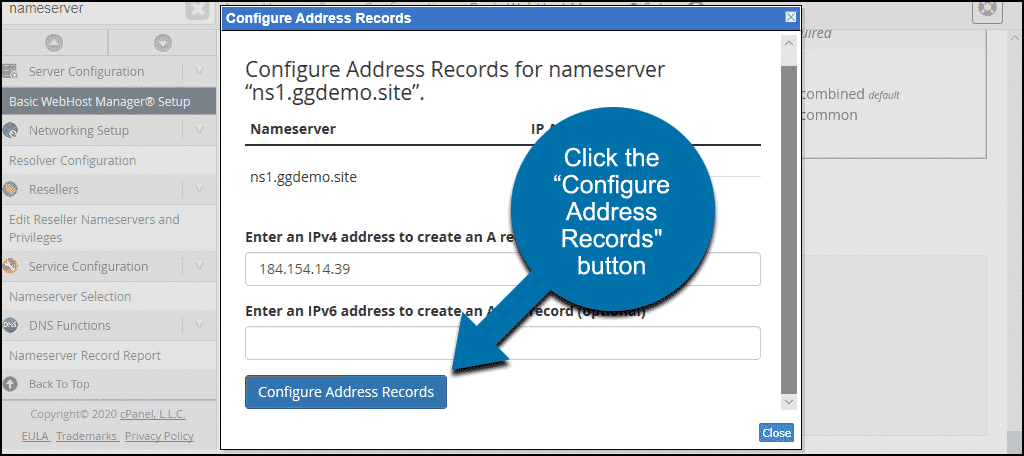 "click ""Configure Address Records"" button"