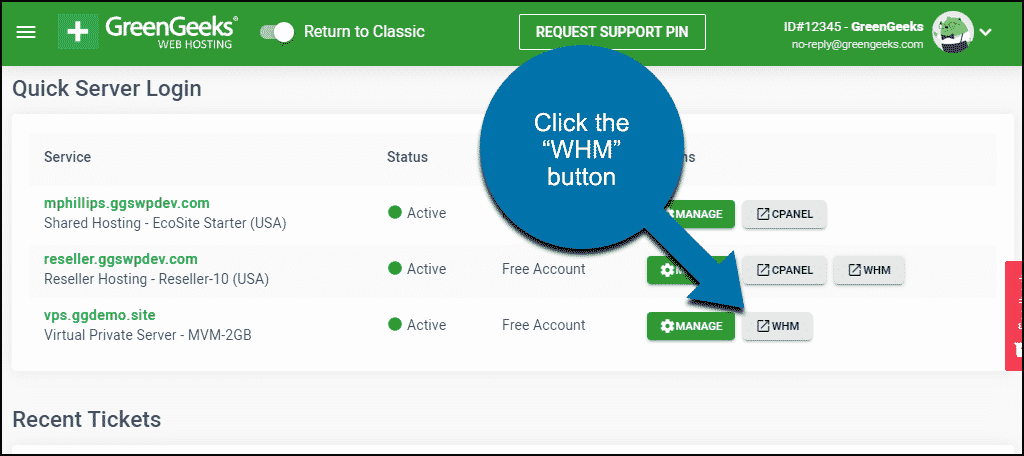 WHM button in GreenGeeks dashboard