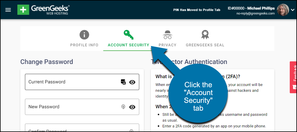 """click the """"Account Security"""" tab"""