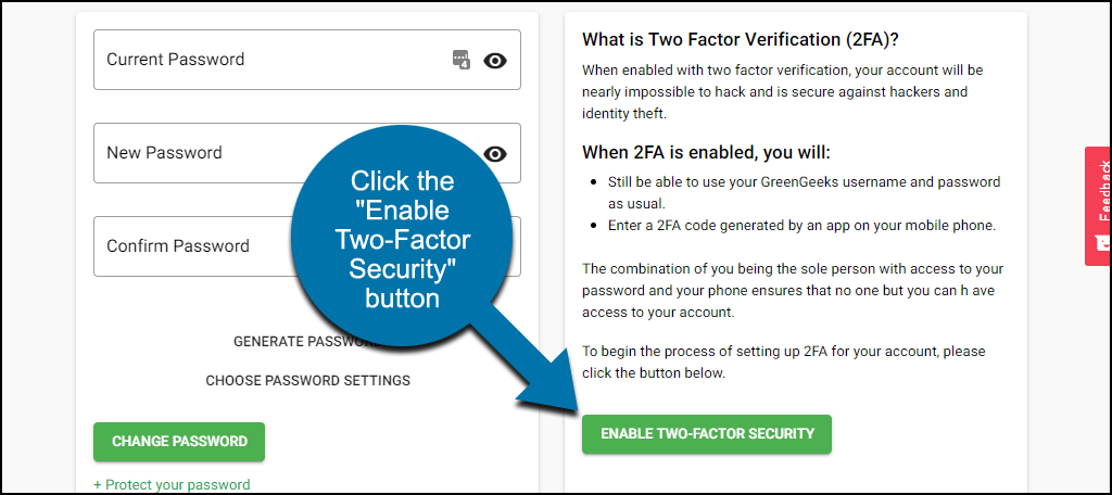 """click the """"Two-Factor Security"""" button"""
