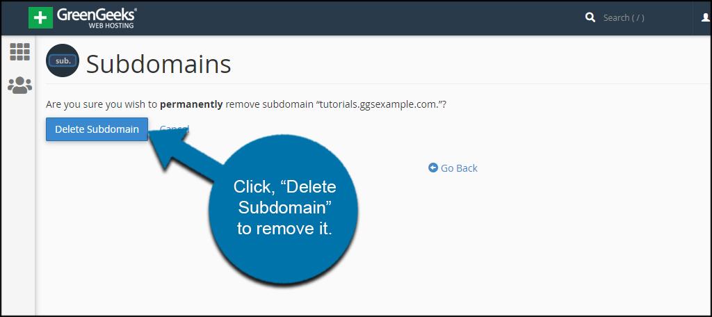 Remove Subdomain Confirmation