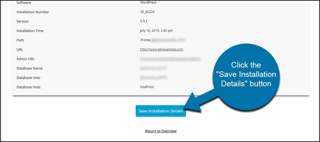 Save Installation Details