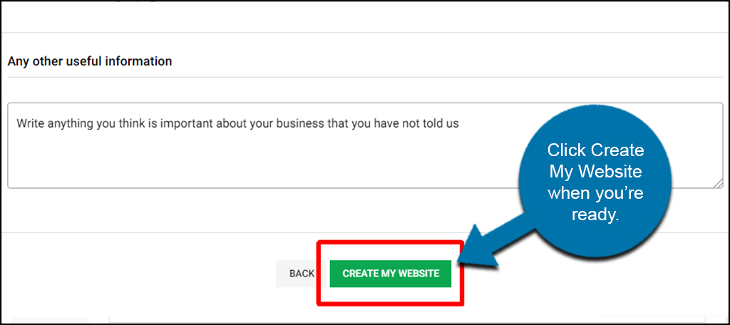 Create My Website Button