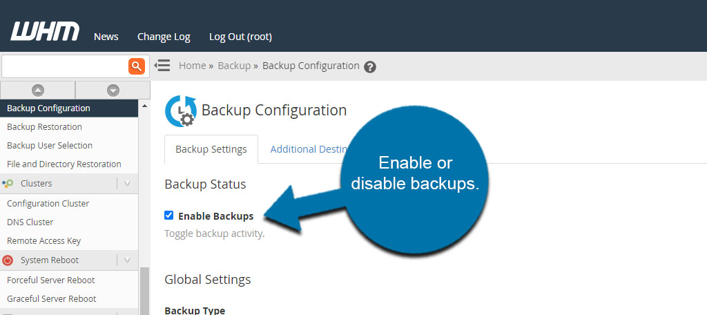 Enable or Disable Backups
