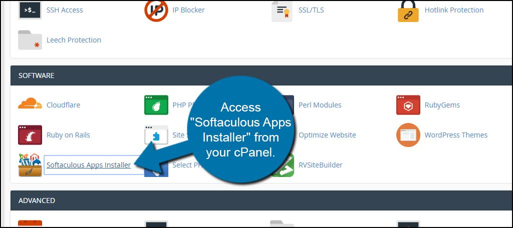 Access Softaculous